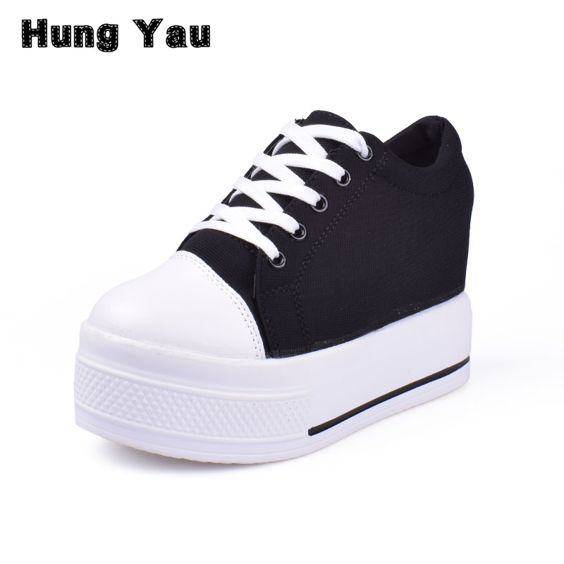 Hung Yau Wedges Canvas Shoes Woman Platform Vulcanized Shoes Hidden Heel Height Increasing Casual Shoes female chaussure femme women sandals 2017 summer style shoes woman wedges height increasing fashion gladiator platform female ladies shoes casual
