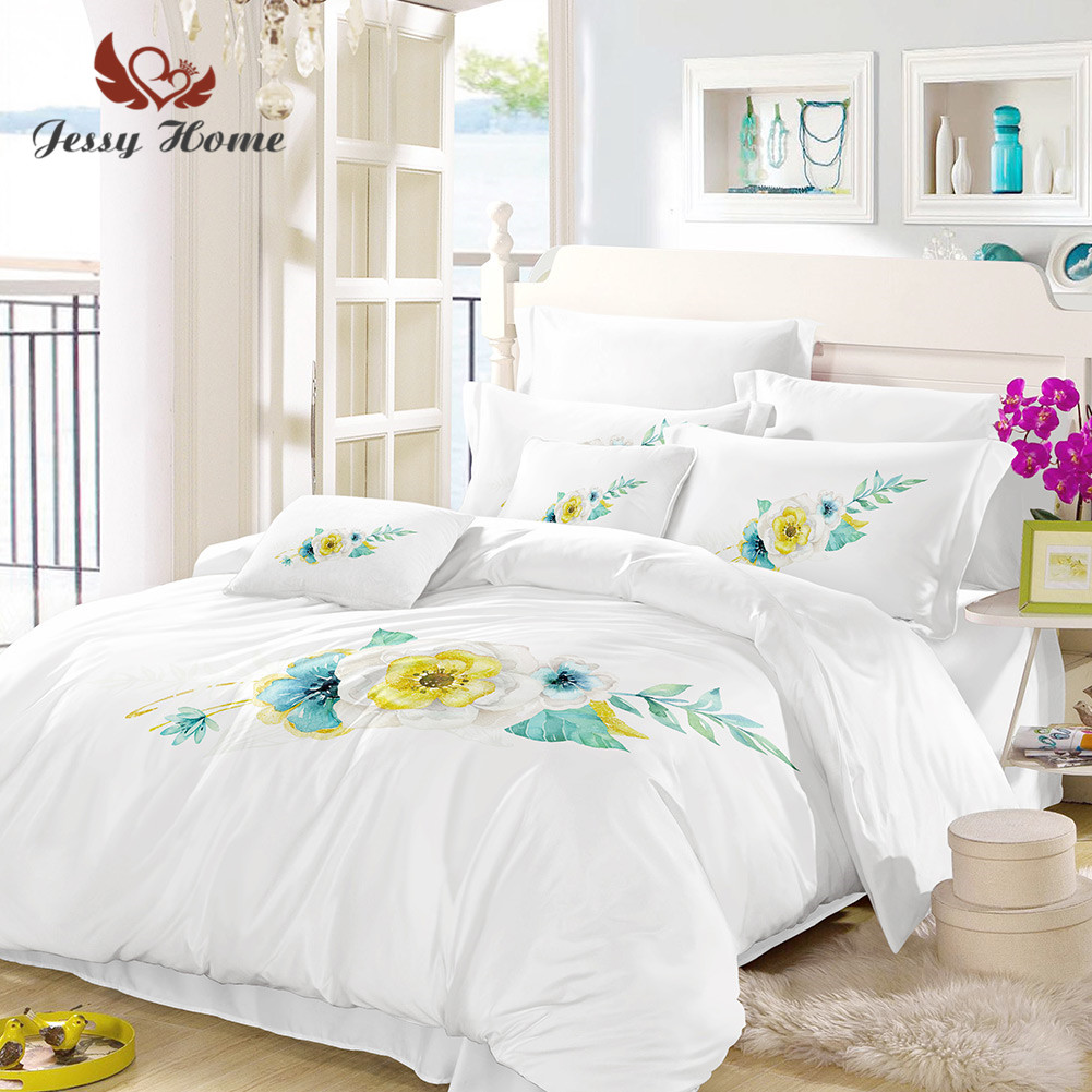 ba7ae2073be Aliexpress.com   Buy Pear Flower Bedding Set Queen Size White Duvet Cover Fashion  Bed Set Bedclothes 3pcs US AU RU Size with Pillow Case M1045 from Reliable  ...