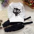 2016 nova roupa do bebé roupa do bebê unisex algodão longo-sleeved T-shirt + calças jardineiras 2/psc gato Infantil conjunto de roupas de bebê menino