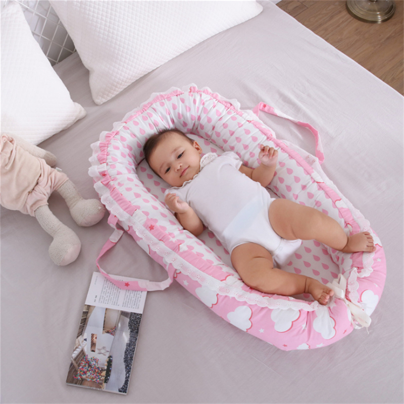 85X50cm Portable Baby Crib Infant Toddler Cradle Cot Newborn Nursery Travel Folding Baby Nest Girls Baby Bed With Bumper