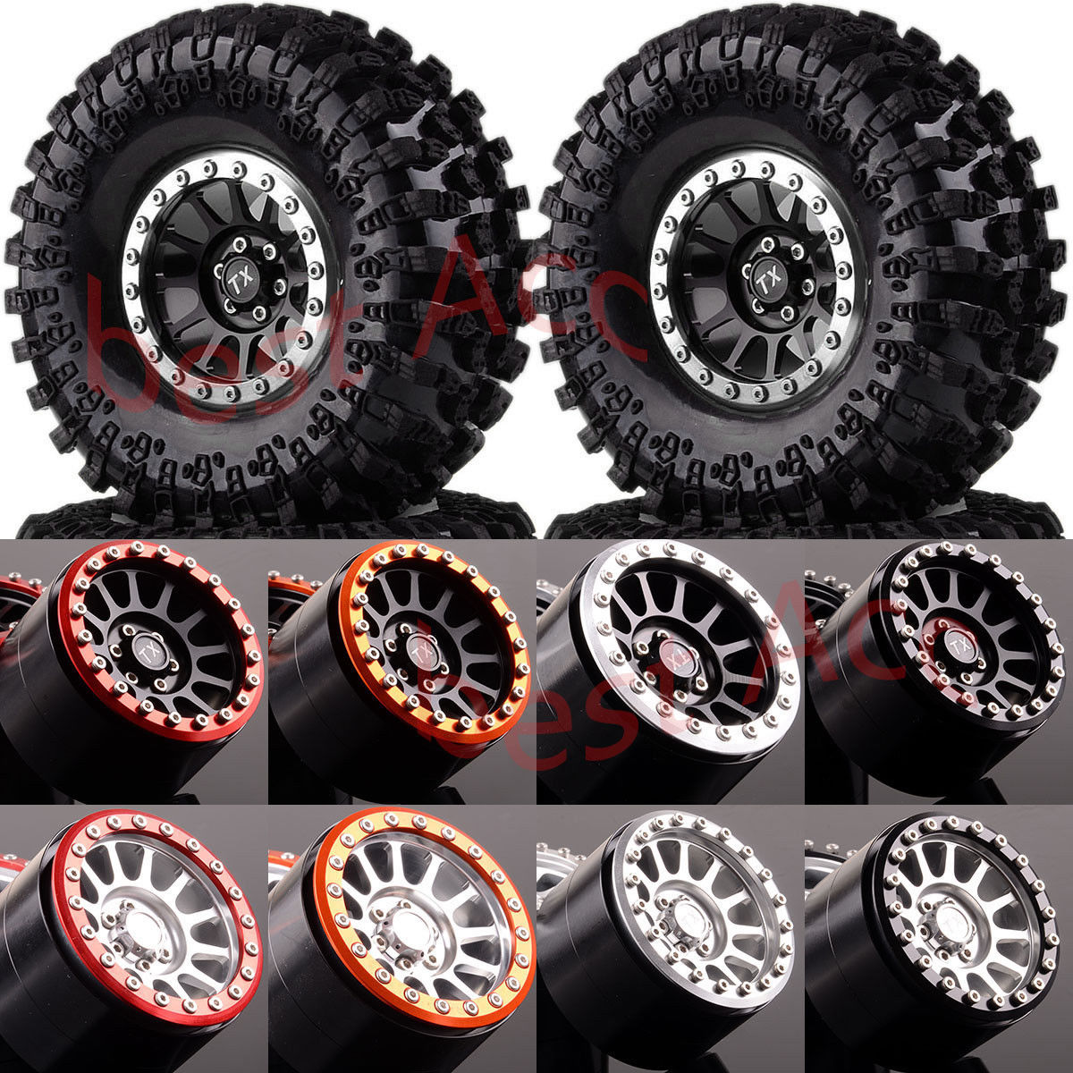 2022 3021 1 10 4P Aluminum 2 2 Beadlock Wheels Rim TIRES For RC Rock Crawler
