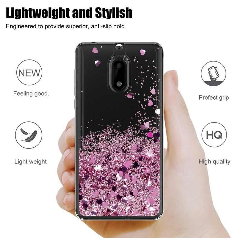 Lovely Hearts Stars Liquid Quicksand Glitter Case For Nokia 3 5 6 2018 Soft Silicon Transparent Cover For Nokia 6 8 7 Plus Cases