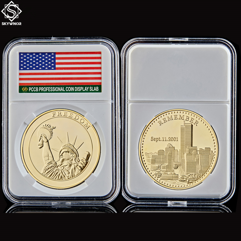 American World Trade Center Statue Of Liberty Gold Coins Value Collection w/ Capsule Protection image
