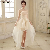 Robe Demoiselle D Honneur 2016 New Lace Champagne High Low Bridesmaid Dress Wedding Party Dresses