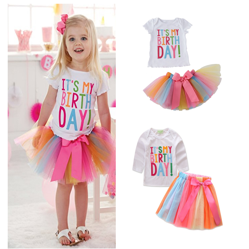Baby Girls Birthday Gift Summer Spring New Girls Princess Dress Suit Shirt + Skirt 2 Pcs Set Girls Clothing Sets party suit 1-7Y 2016 new summer baby sport suit 100