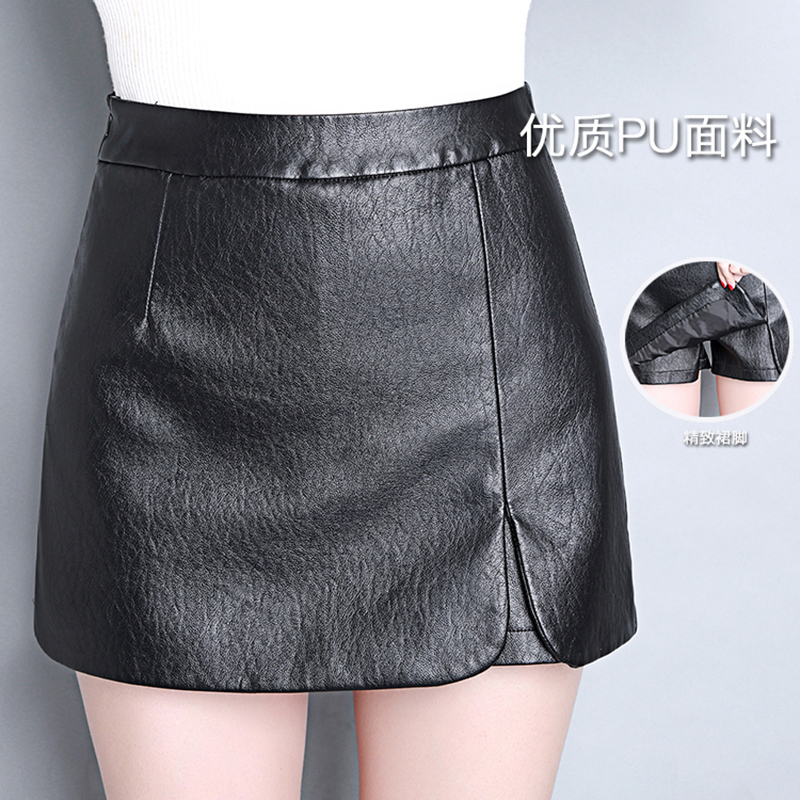New 2017 Autumn Women Winter PU Leather   Shorts   Skirts Female Casual Mini Skirt Ladies Mid Waist Black   Short   Pants Plus Size 4XL