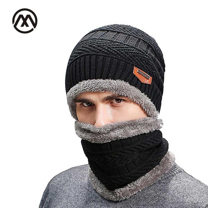 2 Pieces Neck Sets Hats Men Winter Wool Ski Hat  Head Hooded Cap Earmuffs Head Caps Male Beanie Mask Balaclava Gorro Masculino