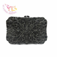 Black Stylish Clutches Floral Design Crystal Metal Clutch Bag with Stone Hard Case Handbags Purse Cross Body Handbag YLS F10