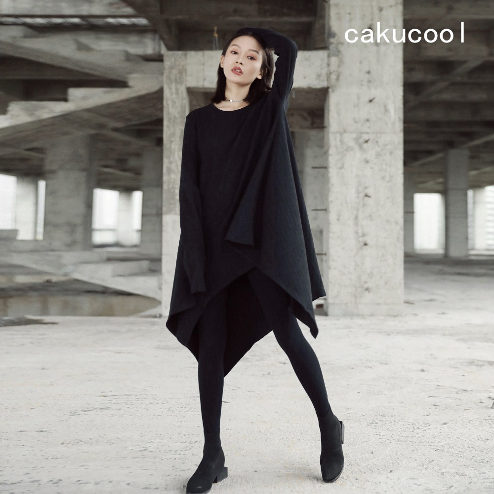 855f8ecc33b3c US $55.1 5% OFF|Cakucool New Solid Black Women Asymmetric Long Sleeved  Dress Normcore Loose Mid Long Vestidos Autumn Gothic Dresses Plus Size-in  ...