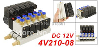 Free Shipping 10Sets/Lot DC 12V Single Head 2 Position 5 Way 5 Pneumatic Solenoid Valve w Base 5 Stations