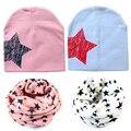 Bebé Niño Niña Niño Bebé Niños de Algodón Suave Lindo Invierno Sombreros Estrella collares bufanda de los nuevos niños del Bebé de punto de algodón sombreros