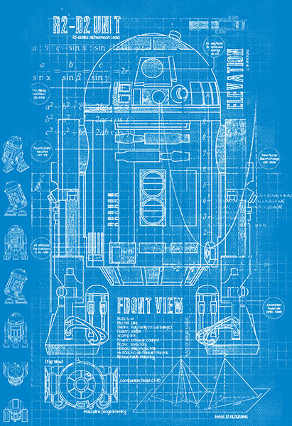 Blueprint Star Wars R2 D2 5070cm Poster In Wall Stickers From Home