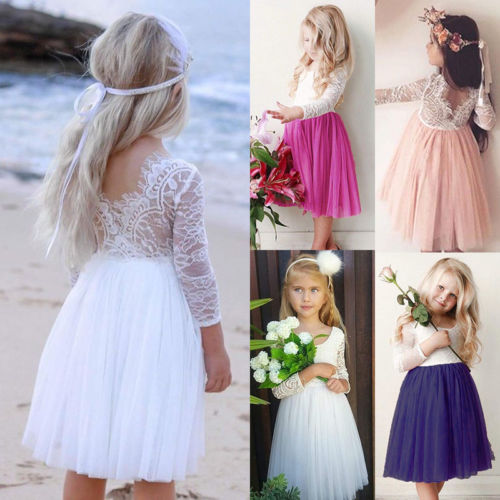 Adorable Toddler Kids Baby   Flower     Girl     Dress   Lace Long Sleeve Tulle Party Gown Bridesmaid   Dresses   Sundress