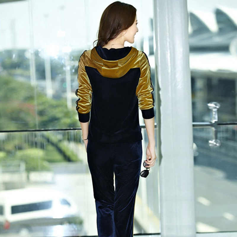 60792ac9 ... Autumn Womens Gold Velvet Leisure Suit Clothing Set Casual Patchwork Velour  Hoodies + Pants Sportswear Tracksuit ...