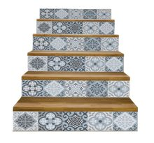 Carrelage arabe gris poterie 6 pièces   Décoration d'escalier en vinyle de Famille, stickers muraux, Art Mural, décoration de salon de maison