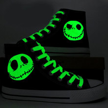 Special Luminous Skull Jack Hand Painted Canvas Shoes Black