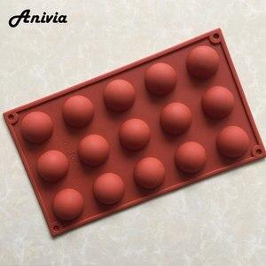 Criativo diy 15 pequeno molde de bolo de silicone semicircular chocolate fondant sabão molde cozinha decoração ferramentas, cor aleatória
