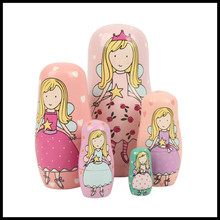 5 Pieces/set  High Quality Russian Matryoshka Doll Crafts For Kids Gifts For Women Wood Angel Figurines Free Shipping