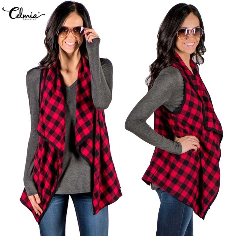 Celmia 2018 mujeres del otoño chaleco flojo ocasional delgada rejilla Plaid cheques sin mangas chaqueta Cardigan Outwear abrigo