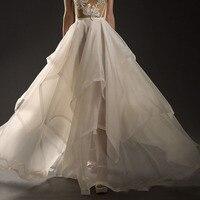 Thời trang Tươi Tốt Organza Wedding Váy Cá Nhân Tầng Ruffles Kịch Dài Bridal Váy Tùy Chỉnh Bất Kỳ Kích Thước Màu Sắc Faldas Saia