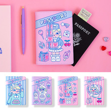 Passport-Cover Pen-Holder Purple Kawaii Women's Pink And with Wow Girls'favorites