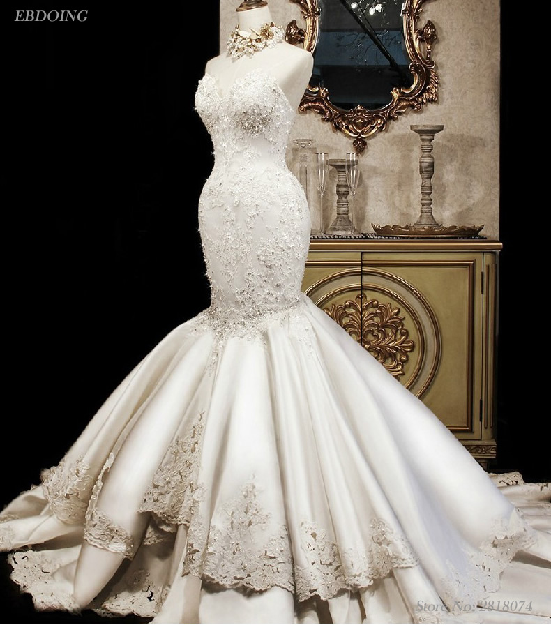 Vestidos De Novia Sexy Wedding Dress Mermaid Sweetheart Neckline Sleeveless Sweep Train Lace UP With Lace