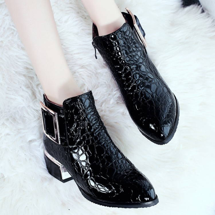 Women Boots Autumn Winter New Sexy Fashion Patent-leather Zip Pointed Toe Ankle Boot Black Blue Red High-heeled Martin Shoes(China)