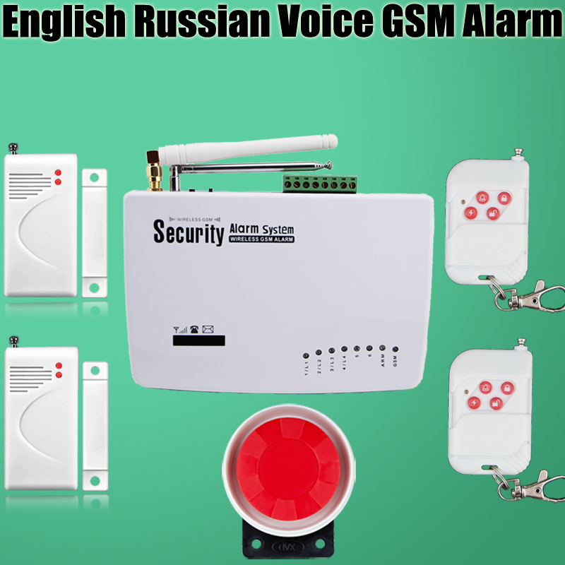 ФОТО free shipping Intercom home security wireless GSM alarm system 2 year warranty 900/1800/1900MHZ with russian,english voice