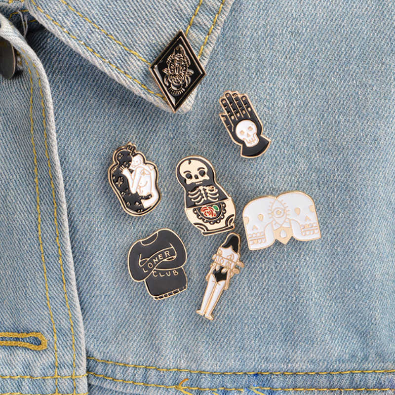 LNRRABC Creative Skull Doll Totem Girl Cartoon Women Brooches Denim Clothes Badge Pins Button Jewelry Gift For Kids friends