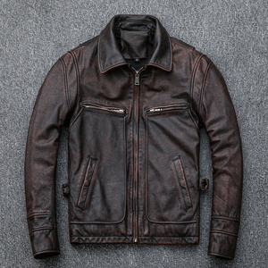 Image 4 - Free shipping,Asian plus size mens genuine leather jacket,vintage brown casual cowhide coat,Brand new slim motor jackets.sales.