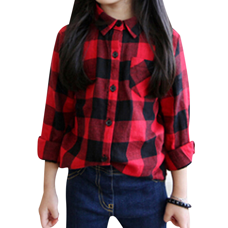 2016 Autumn New Baby Girls Wild Plaid Long-sleeved Shirt Jacket Children Soft Cotton Blouse Tops Camisa Kids Clothing YY0264