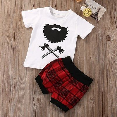 2pcs Baby Boy Clothes Newborn Baby Boy Cotton T-shirt Tops+Plaid Shorts Pants Bottom Fashion Baby Clothes Outfits Set 0-18M