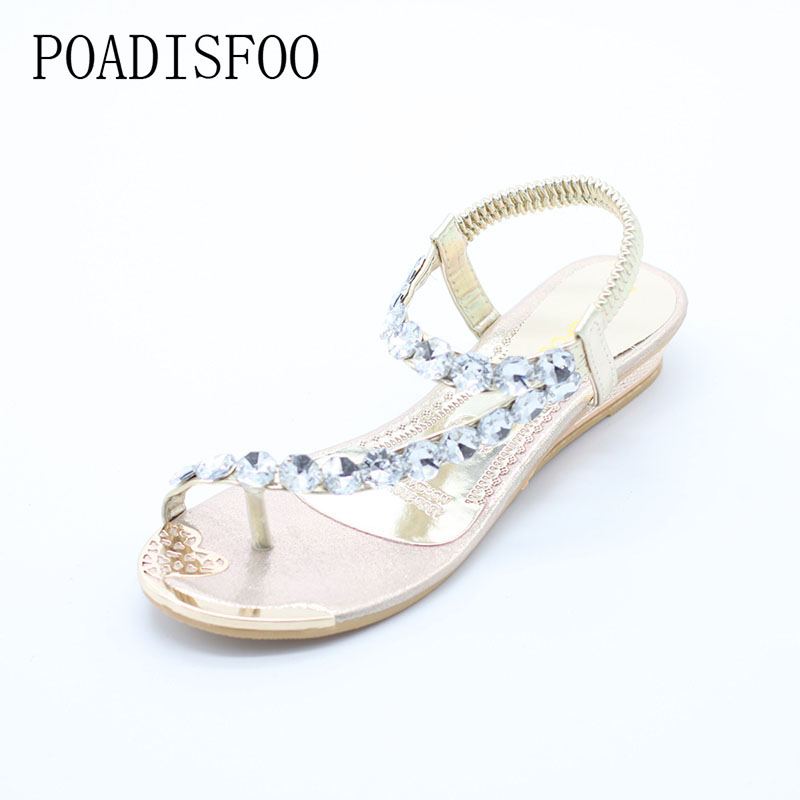 POADISFOO Summer sandals women flat sandals toe sandals Bohemia fashion women 's shoes .HYKL-8809-1  poadisfoo 2017 new summer style slip on women sandals flats for women black white color slippers shoes women hykl 1603