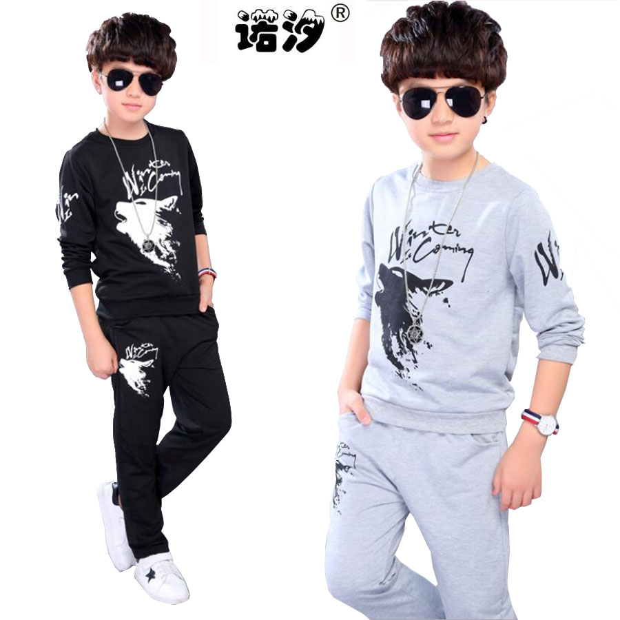 boys clothes kids summer Style cotton sets children soft Tee+trousers 4-17 Y children active outwear baby sweat clothes sets