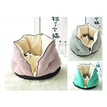 Suede Fabric Cats House Mini Pets Surrounding Bed Small Dogs Nest Winter Warm Kitten Puppy Kennel Mats Sleeping Bag