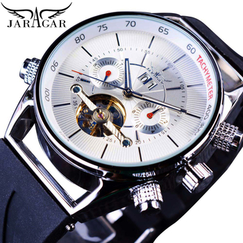 Jaragar Men Automatic Mechanical Watch Fashion White Calendar Luxury Silicone Band Top Brand Self-Wind Watches Relogio Masculino newest 44mm parnis white dial moon phase complete calendar golden plated case automatic self wind movement men s wristwatches