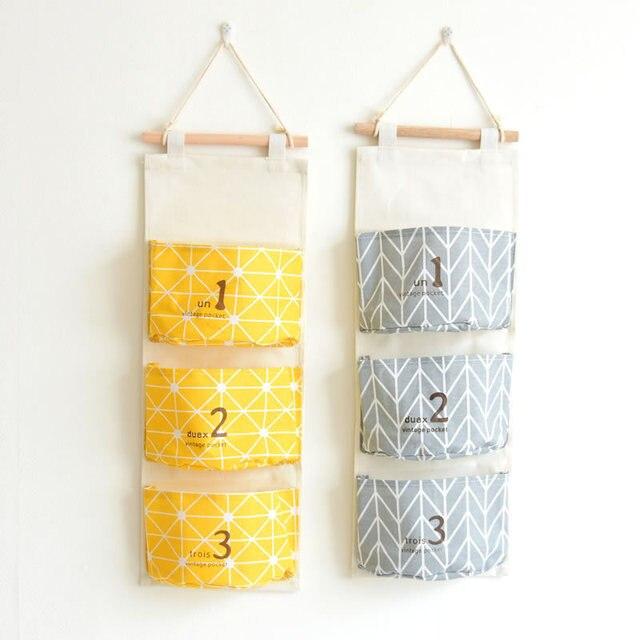 Cotton Fabric Wall Hanging Storage Bag Hanging Organizer Sundry ...
