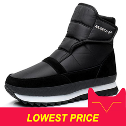 Men boots winter shoes men ankle boots Waterproof Non-slip warm plush flat men snow boots big size 39 - 45