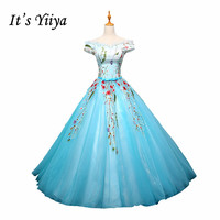 It's YiiYa Hot Bride Dresses Blue Pink Sleeveless Boat Neck Flower Pattern Embroidery Floor Length Pregnant Wedding Gown L004