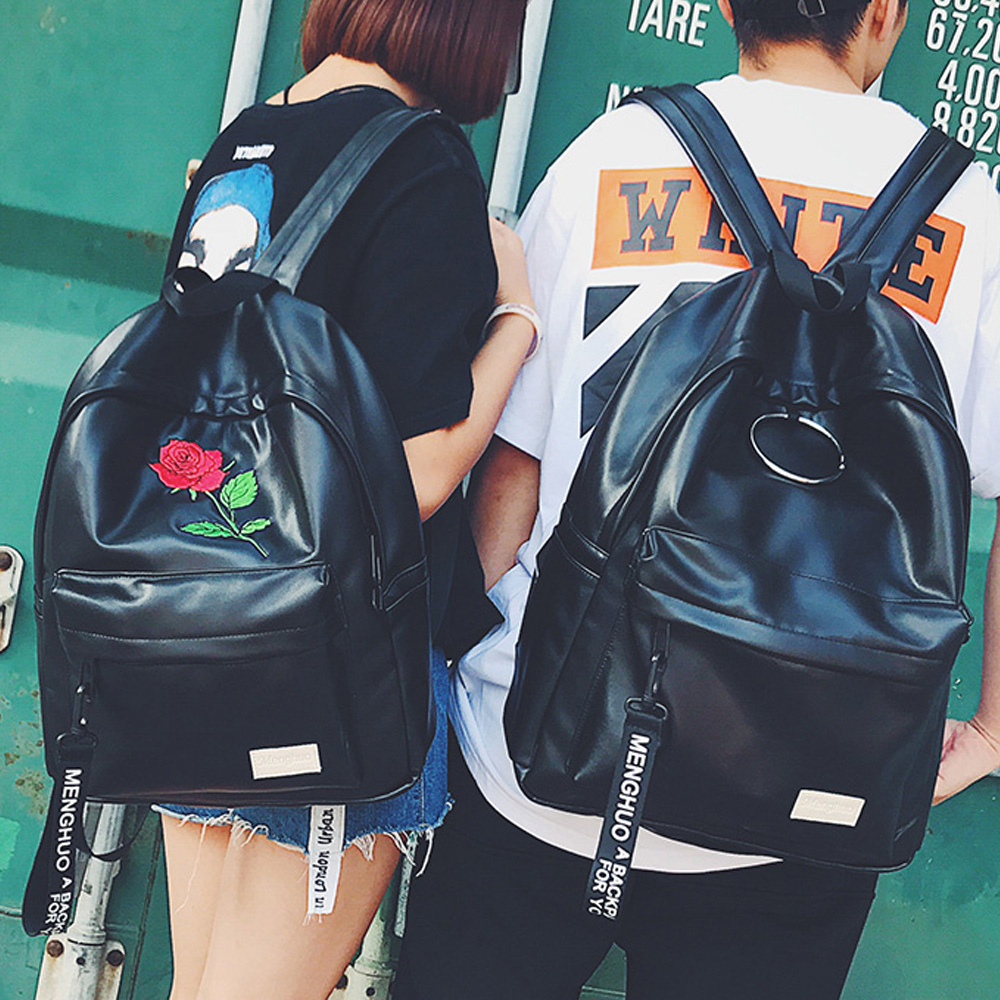 Menghuo Preppy Style School Backpack 2 Different Sizes Lovers Backpack  Unisex PU Leather Backpack Travel Bags Teenagers Mochila aeaeaf44d8344
