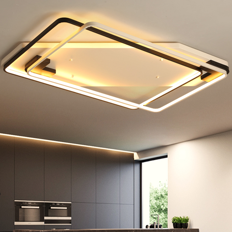 Black and White Modern LED Ceiling Lights surface mounted 80~128W Ceiling Lamps lamparas de techo plafonnier led luminaria