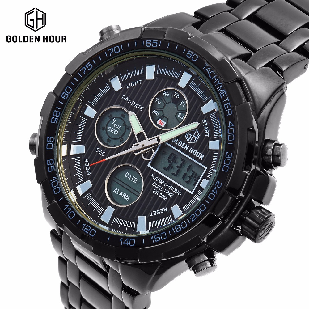 Luxury Brand Analog Digital Watches Men Led Full Steel Male Clock Men Military Wristwatch Quartz Sports Watch Relogio Masculino 2018 amuda gold digital watch relogio masculino waterproof led watches for men chrono full steel sports alarm quartz clock saat