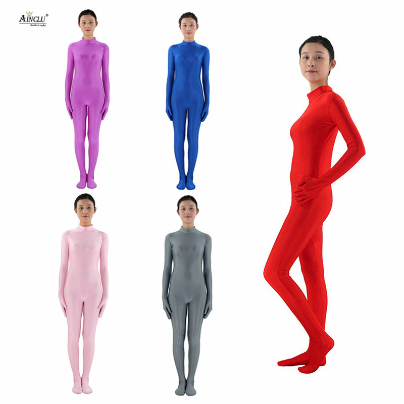 Ainclu Womens Spandex Nylon Lycra Zentai MultiColor Body Second Skin Tight Without Head Dancewear Costume Hallween Bodysuit