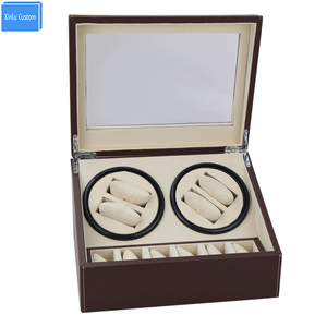 DHL shipping brown Automatic watch winder 4 slient motor box for watches mechanism cases with drawer storage display watches