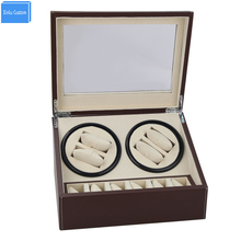 DHL shipping brown Automatic watch winder 4 slient motor box for watches mechanism cases with drawer storage display