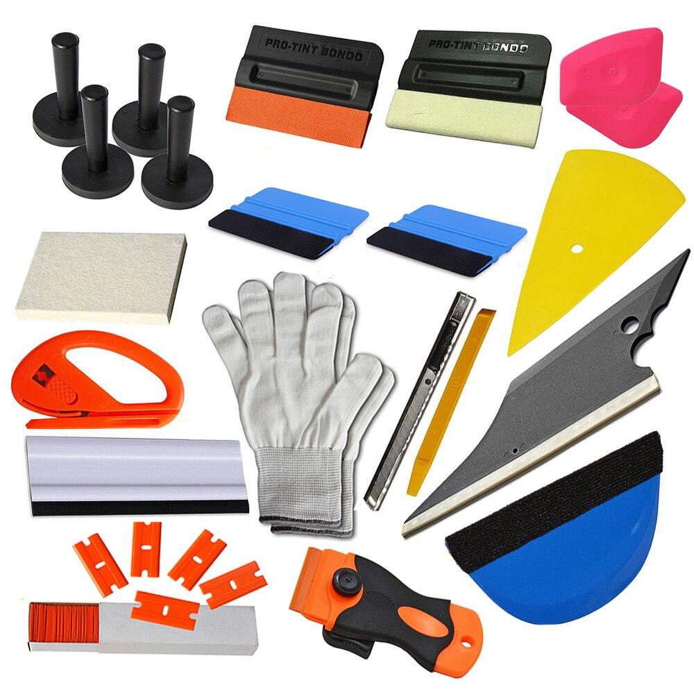 EHDIS 21 pièces voiture film d'emballage en vinyle outils Kit en Fiber de carbone raclette grattoir Art couteau lame avec porte-aimant accessoires de voiture
