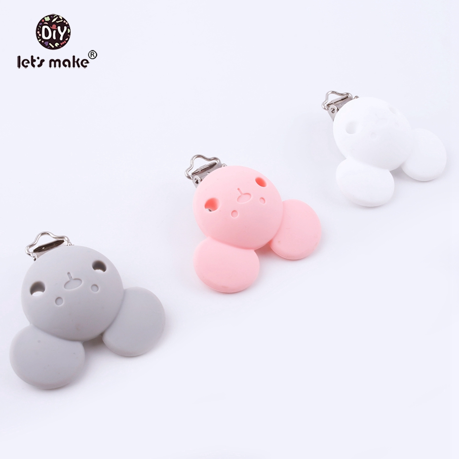 Lets make Baby Pacifier Clips Holder Silicone Bear Head Cartoon Clip For Baby DIY Dummy Clip Accessories Feeding Toy Clips