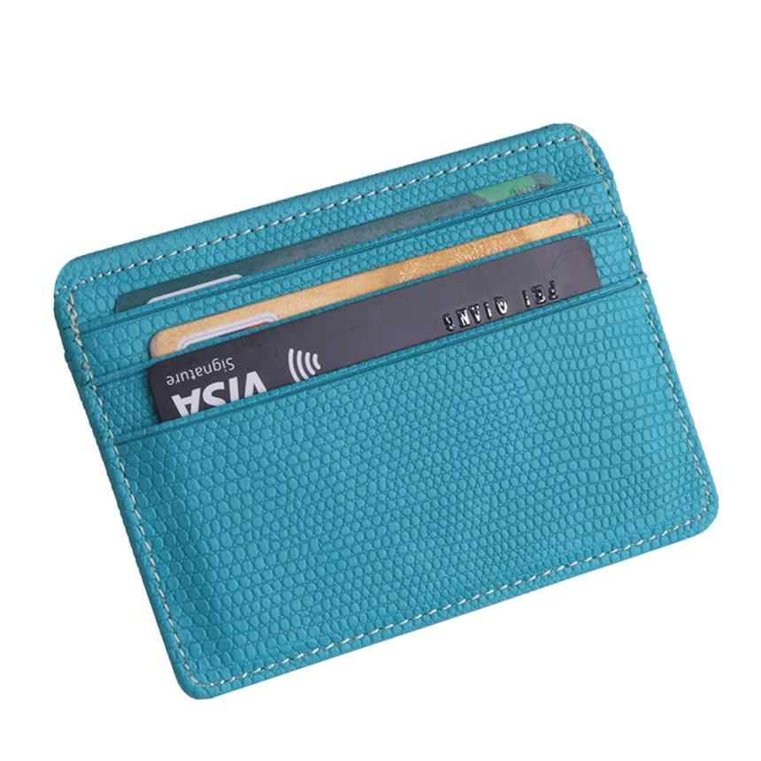 2018 small wallet card women Unisex Fashion Women Lichee Pattern Bank Card Package Coin Bag Card Holder 4.28