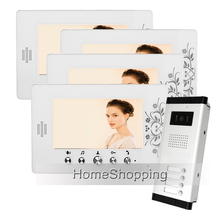 FREE SHIPPING New 7″ Video Door Phone Intercom System 4 White Monitors + 1 Outdoor Bell Camera for 4 Household Apartment Family