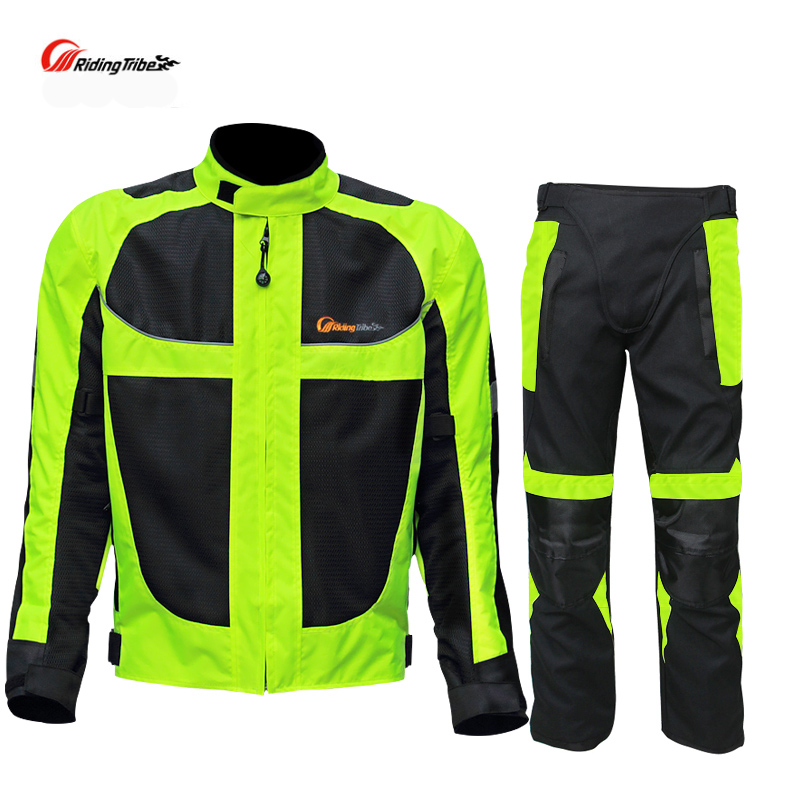 2017 Riding Tribe Summer Breathable Protective Mesh Moto Jackets Men's Motorcycle Reflective Racing Jacket With Pants top good motorcycles mesh fabric jacket summer wear breathable hard protective overalls motorcycle clothing wy f607 green